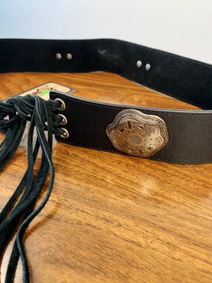 Fringe Leather Metal Conch Belt