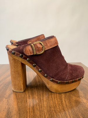Brown Suede Platform Clogs