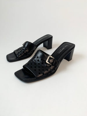 Black Italian Leather Perforated Mules