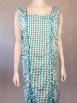 Aqua Mid-Century Gingham Dress