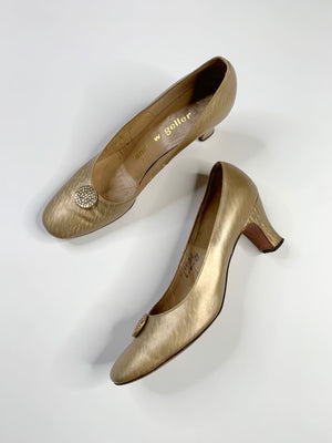 60's Gold Leather Pumps - 9 N