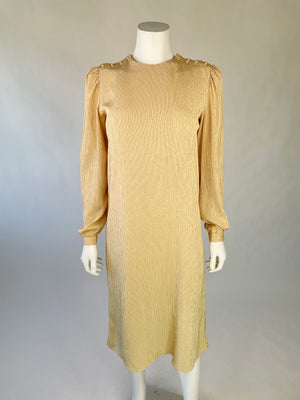 1980's Elegant Taupe Striped Puff-Sleeve Dress