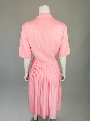 Bubble Gum Pink Mid-Century Pleated Day Dress