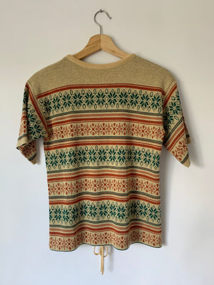 1970's Tan & Green Snowflakes Sweater - S