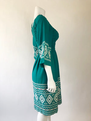 1970's Embroidered Teal Guatemalan Angel Sleeve Dress