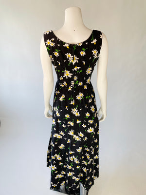 1970's Sunflower Print Cotton Maxi-Dress