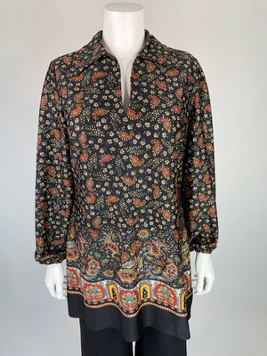 Black Floral Paisley Mini Dress/ Tunic