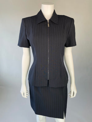 90's Black & Blue Pinstripe Skirt Set