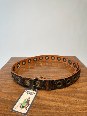 Black-Brown Circle Cut-Out Belt