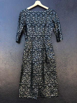 Mid-Century Black & Silver Floral Dress - XS