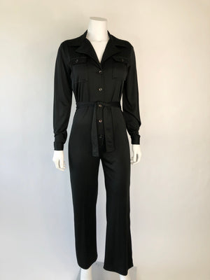 1970's Black Button-Front Jumpsuit