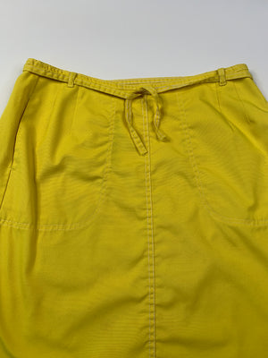 70's Banana Yellow Wrap Skirt - XL