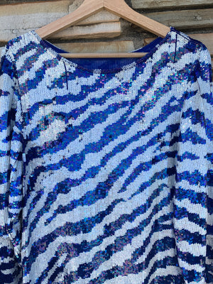 Blue & White Silk Sequin Party Top - L
