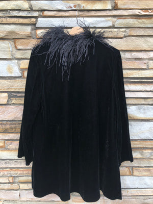 90's Black Velvet Evening Jacket - M