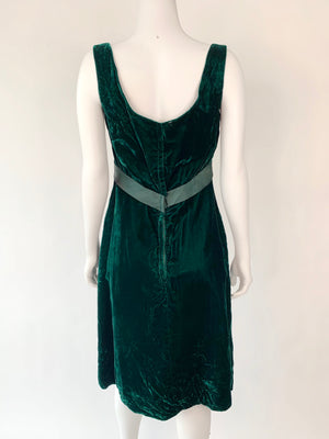 1960's Forest Green Velvet Cocktail Dress