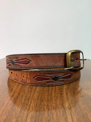 Brown Leather Belt w/ Stamped Southwest Design