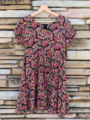 90's Floral Babydoll Dress - S