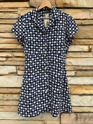 90's Navy Blue Floral Dress - L