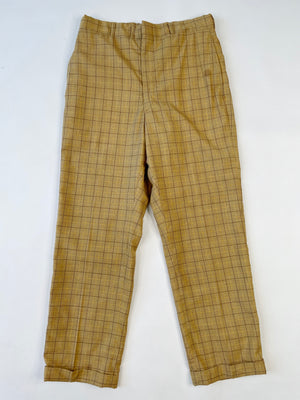 High Rise Mustard Grid Slacks