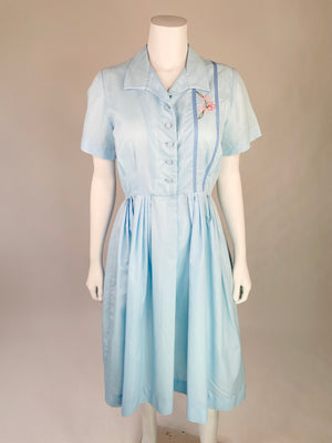 Baby Blue Mid-Century Day Dress w/ Floral Embroidery