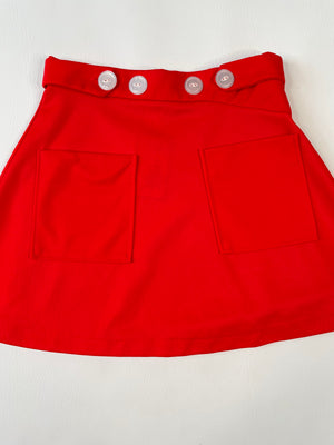 Red 60's Mod Mini Skirt