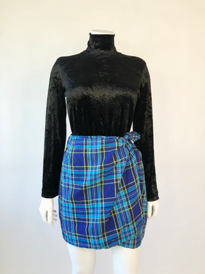 Ungaro Linen Blue Plaid Wrap Skirt