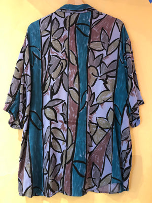 Teal & Purple Rayon Shirt - M