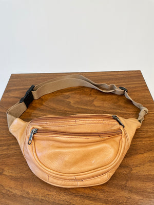 Beige Soft Pebbled Leather Hip Sack