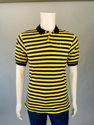1990's Ralph Lauren Navy & Yellow Striped Preppy Polo