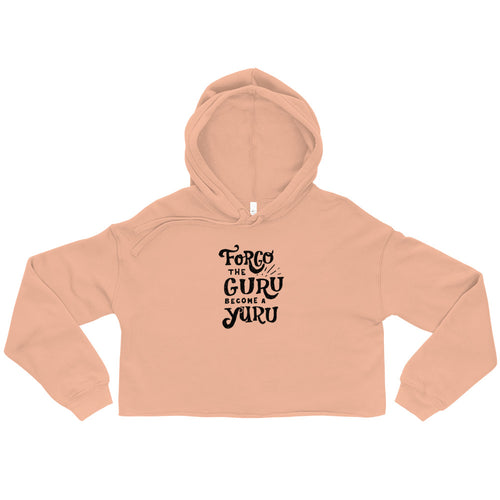 Forgo The Guru Ladies' Cropped Hoodie - Peach