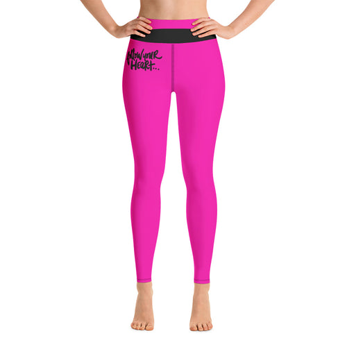 Follow Your Heart Yoga Leggings - Fuchsia
