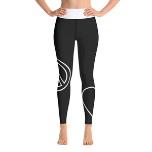 Peace Love Yoga Leggings - Blk/Wt
