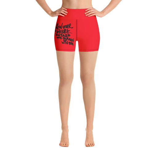 Flollow Your Heart Yoga Shorts - Red
