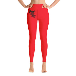 Follow Your Heart Yoga Leggings - Red