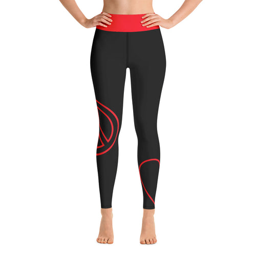 Peace Love Yoga Leggings - Blk/Red