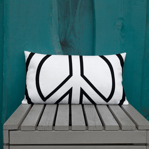 Peace Love Premium Pillow - Wt/Blk