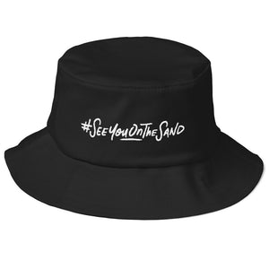 #SeeYouOnTheSand Old School Bucket Hat - Black