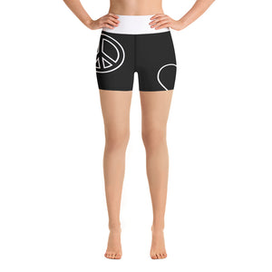 Peace Love Yoga Shorts - Blk/Wt