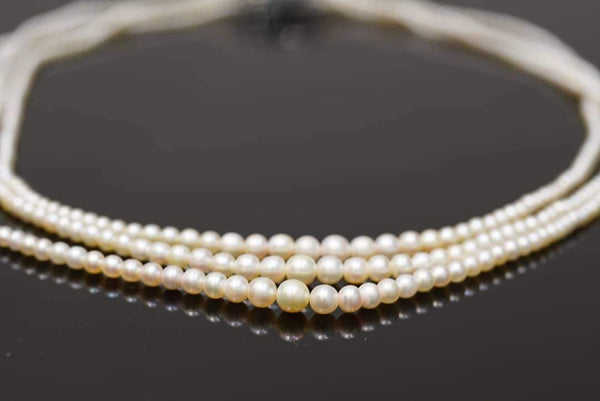 3-row unique & luxury white to light cream natural pearl necklace عقد ثلاث صفات لؤلؤ طبيعي نادر وفخم