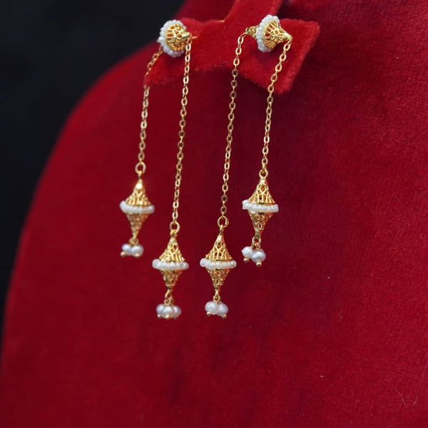 21 carat gold earrings with natural pearls  تراجي ذهب قيراط ٢١ مع لؤلؤ طبيعي