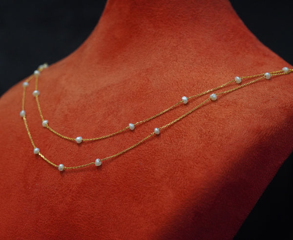Double line natural pearl necklace with 21kt gold  عقد لؤلؤ طبيعي  مزدوج جميل وناعم  مع ذهب قيراط ٢١