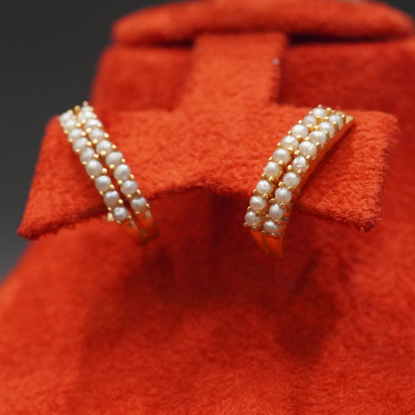 21 carat gold earrings with natural pearls (double line)  تراجي دربين لؤلؤ طبيعي مع ذهب قيراط ٢١