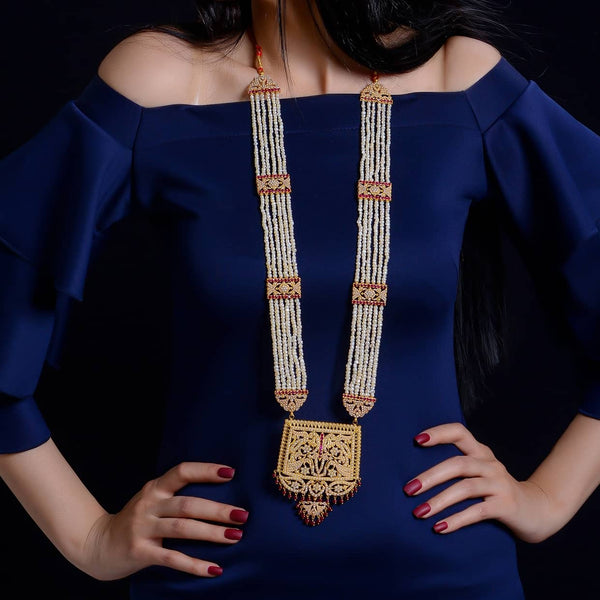 Luxury natural pearl & red ruby necklace with 21ct gold عقد راقي ياقوت احمر طبيعي مع لؤلؤ طبيعي وذهب قيراط ٢١