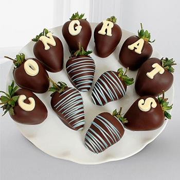 Dark Chocolate Congratulations Strawberries - D'Decorations Flower Shop | Floreria