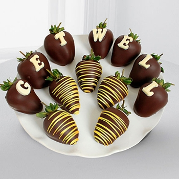 Dark Chocolate Get Well Strawberries - D'Decorations Flower Shop | Floreria