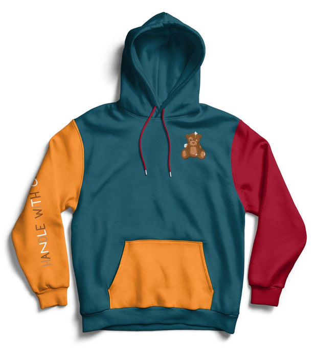 "D.R.E.A.M. ""Handle With Care"" Color Block Hoodie (Blue/Orange/Red) Hoodie D.R.E.A.M. Clothing"