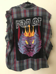 Dead King Cat Ripped flannel