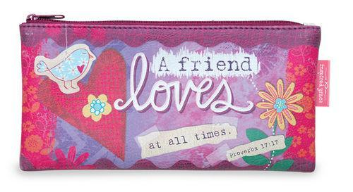A Friend Loves At All Times Zippered Pouch