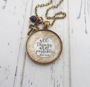 All Things Are Possible Scripture Necklace