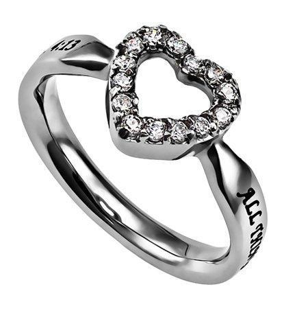 All Things Through Christ CZ Open Heart Ring